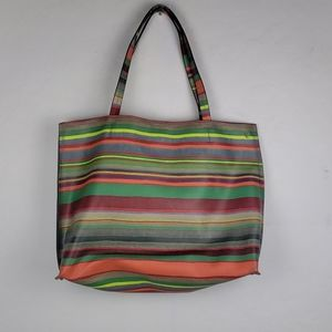 ELLIOT LUCA ORANGE AND GREEN COLORFUL STRIPES TOTE